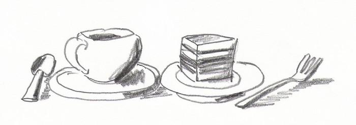 """Zeichnung """"Kaffee und Kuchen"""""""