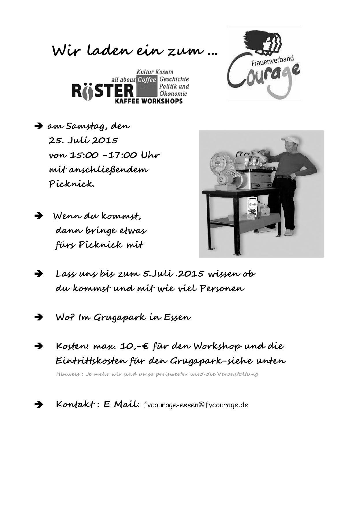 Einladung zum Workshop mit Preisliste
