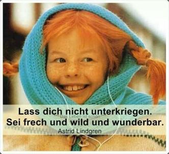 Foto von Pipi Langstrumpf mit Astrid Lindgren-Zitat