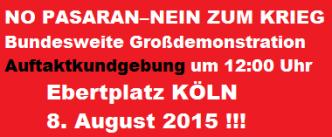Banner Auftaktkundgebung 8. August 2015