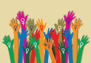 Bunte Hände mit Feminismus-Zeichen