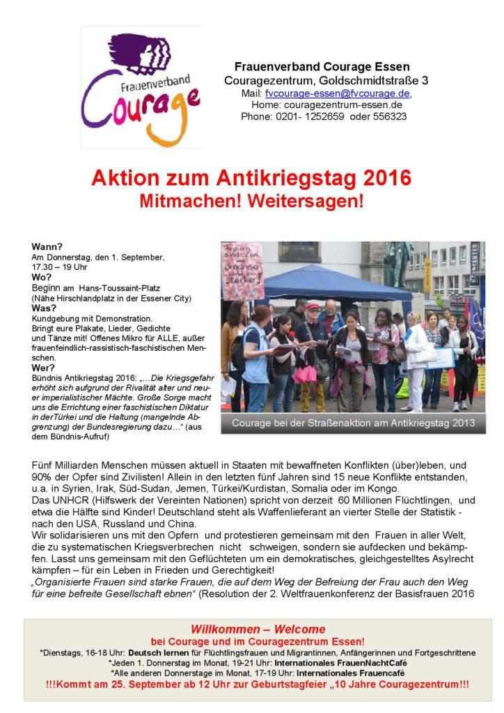 Flyer Aufruf Antikriegstag